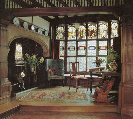 Enrance Hall at Whightwick Manor with Morris designed fabric